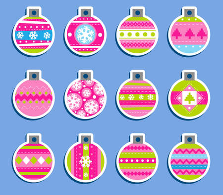 Set of 12 Vintage Christmas which may be used as tags for gift or stickers Vector