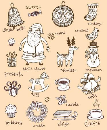 renos de navidad: Dibujado a mano símbolos para banners, fondos, presentaciones, decoraciones. Todas las piezas son independientes