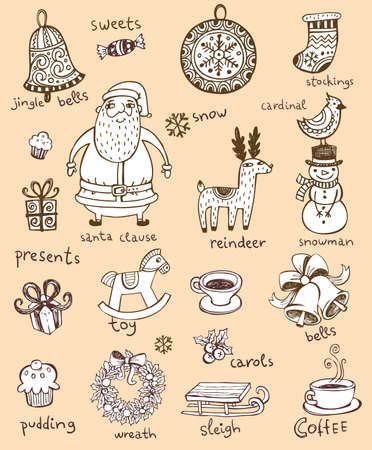 christmas reindeer: Hand drawn symbols for banners, backgrounds, presentations, decorations. All pieces are separate