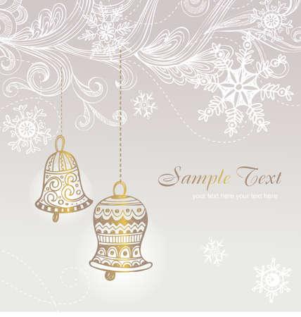 campanas de navidad: Tarjeta de la vendimia con las campanas de Navidad, ilustración de dibujado a mano.
