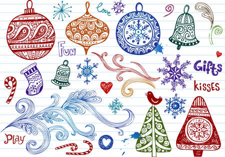 tree toys: Set of Christmas doodles, vector illustration Illustration