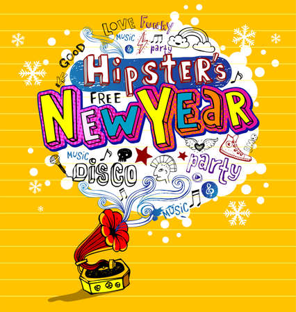 Hipsters New Year, Greeting card or party invitation Vector