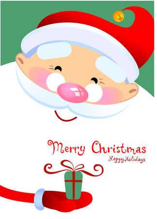 Christmas greeting card with Santa Claus Cartoon