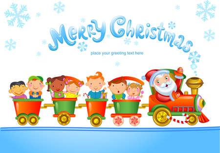 cartoon present: Christmas greeting card with Santa Claus Cartoon