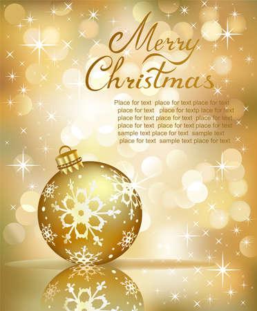 golde: Vector Christmas balls on abstract golden lights background.