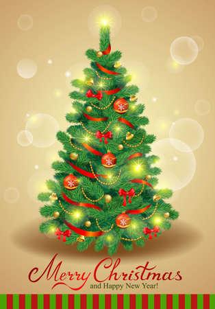 tree  pine: Posible para crear postales de vacaciones, fondos, adornos.