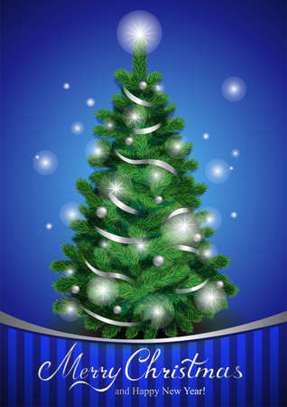 cartoon christmas tree: Possible to create holiday cards, backgrounds, ornaments. Illustration