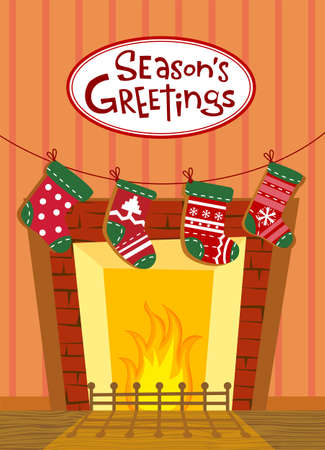 mantel: Cute background for banners, backgrounds, decorations. Illustration