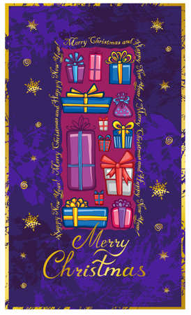 Christmas greeting card with various presents. Vector