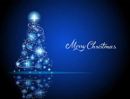 Modern abstract blue christmas tree