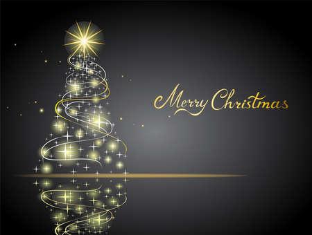 Modern abstract golden christmas tree