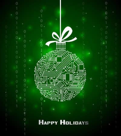 fiestas electronicas: Hi-tech bola de Navidad sobre fondo verde, de un circuito electrónico digital Vectores