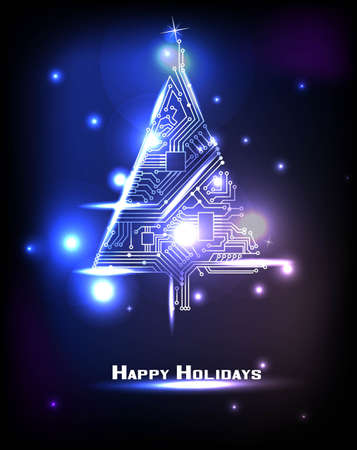 fiestas electronicas: Hi-tech Árbol de Navidad de un circuito electrónico digital