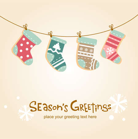 season s greeting: Cute background with hanging stockings for banners, backgrounds, decorations. Illustration
