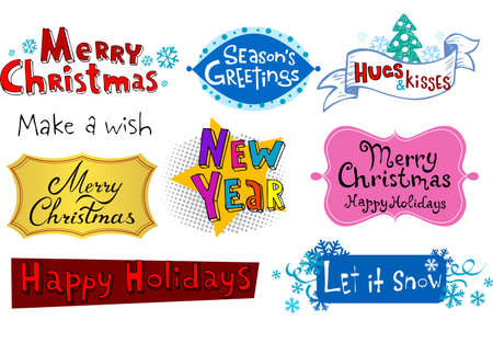 let it snow: Congratulatory Christmas and New Years inscriptions.