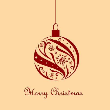 Vintage card with ornate Christmas ball Vector
