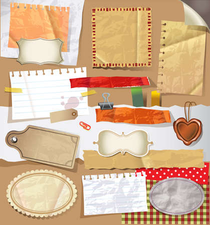 paper textures: Scrapbooking set with old paper textures and  stationery.