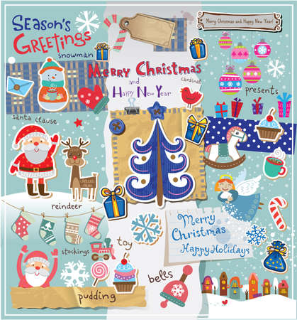 Christmas decoration collection for scrapbook style. Vector