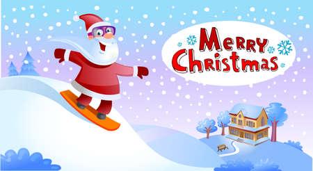 holliday: Holliday greeting card, Santa Claus on snowboard
