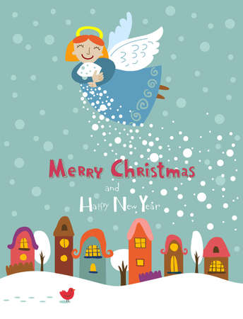 traditional events: Christmas card with a cute little angel and place for your text Illustration