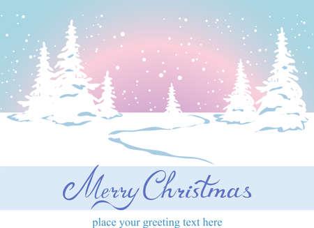 christmas scenic: Fairy tale winter landscape, vector illustration. Illustration