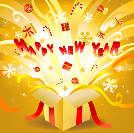 vectro: Magic new year box, vectro illustration for greeting card or banner