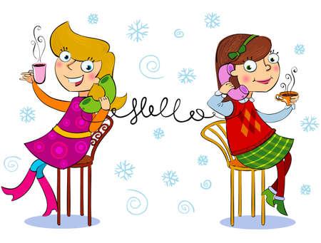 Two cartoon girls talking telephone and drinking  baverage.