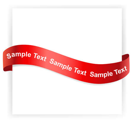 satin ribbon: Background greeting card with tied red ribbon. Vector illustration