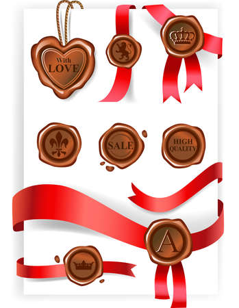 Collection of Wax seals and red ribbons. Vector illustration. Vector