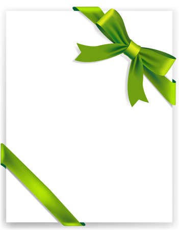 green ribbon: Background greeting card with tied green ribbon. Vector illustration Illustration