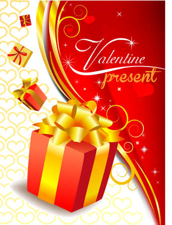red gift box: Festive background with red gift box with golden bow. Illustration