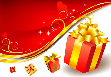 surprise box: Festive background with red gift box with golden bow. Illustration