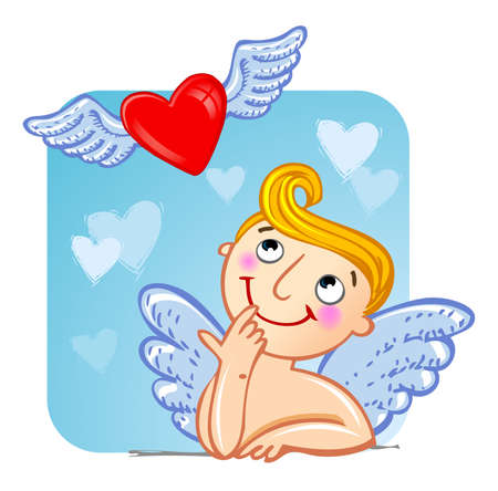 matchmaking: Funny cartoon cupid looking at flying heart.