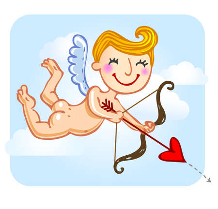 matchmaking: Funny cartoon cupid holding bow and arrow.