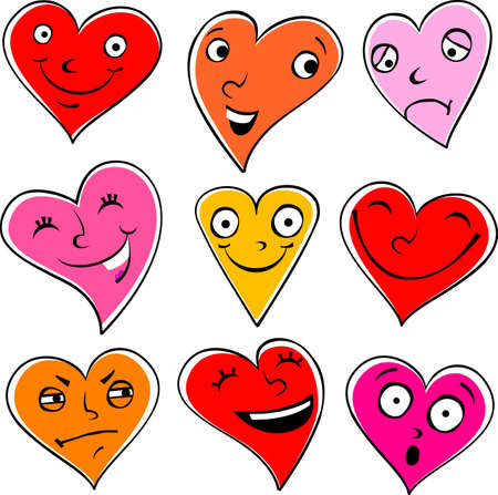 freedom of expression: Emotional cartoon hearts illustration isolated on white, expressing different emotions. Illustration