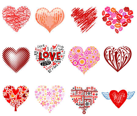 Set of 12 vector hearts, different styles. Vector