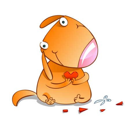 cute cartoon dog: Cute cartoon dog with red paper heaart.