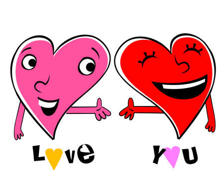 two hearts: Two cartoon Hearts expressing love and friendship. Holding hands. Illustration