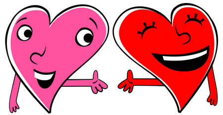 Two cartoon Hearts expressing love and friendship. Holding hands. Vector
