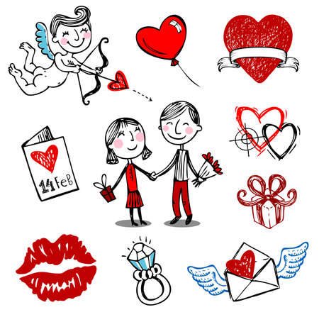 Set of nine Valentine vector illustrations, hand drawn style. Vector
