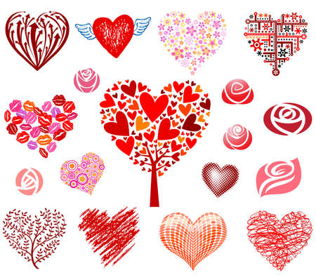 Set of hearts and roses, different styles. Vector