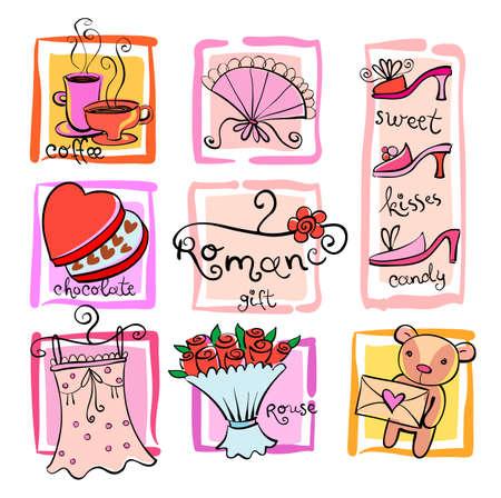 Gift Ideas for girl. Vector