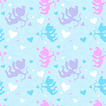 angel white: Seamless pattern with cupids. Illustration