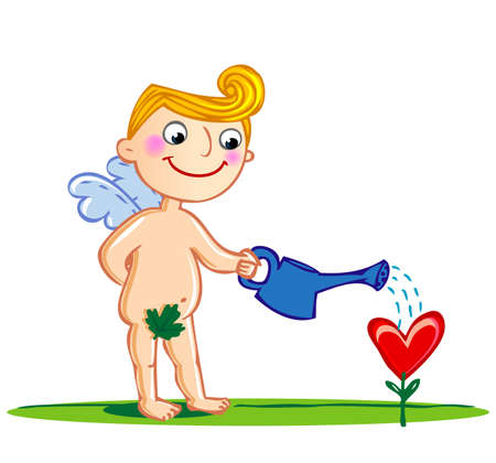 matchmaking: Cupid watering a flower. Illustration