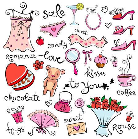 carta de amor: Ideas de regalos para chica Vectores