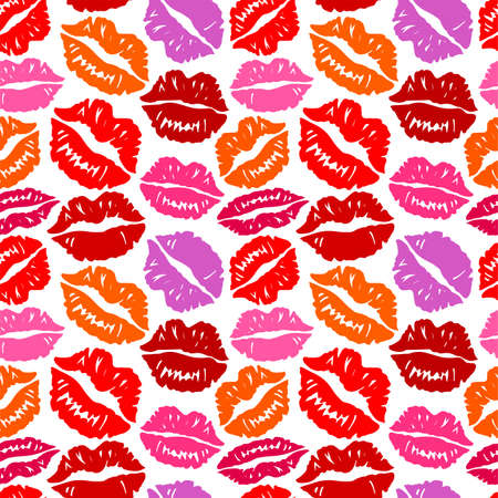 mouth couple: Seamless background with kisses. Illustration