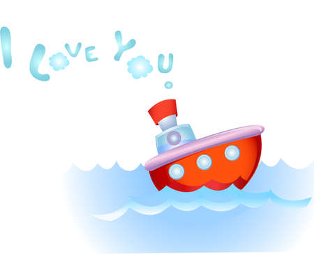 steamship: Steamship in love Illustration
