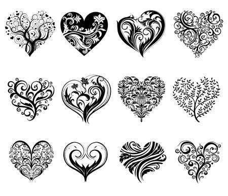 swirly: Tattoo hearts. Illustration