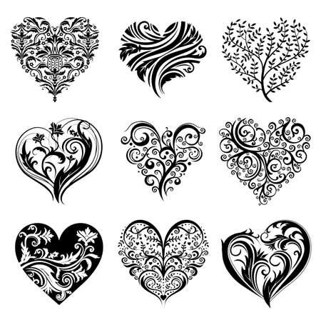 flores: Tattoo hearts. Illustration