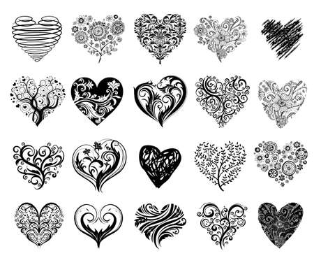 scrolls: Tattoo hearts. Illustration